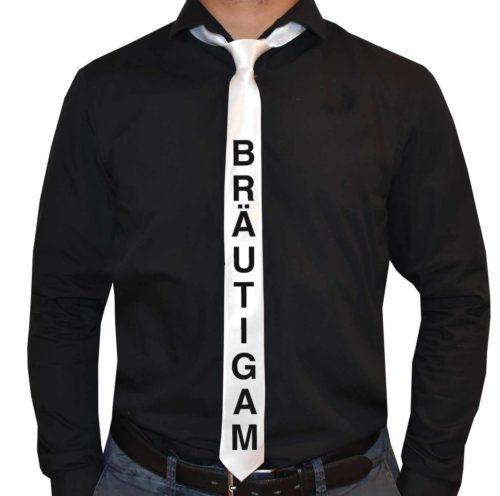 Polterabendideen-Krawatte-brautigam-weiss