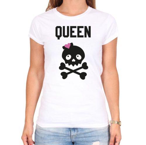 QUEEN_SCULL-weiss-frauen-tshirt